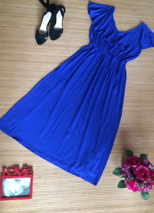 Красивое ультрамариновое, трикотажное платье , размер 3xl