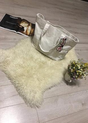 Hello тканьёвая белая сумка (есть нюанс)сумка шопер