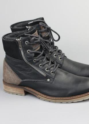 Брендовые кожаные зимние ботинки на меху в стиле ecco clarks geox timberland g-star diesel