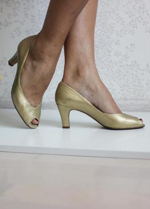 Кожаные золотистые туфли лодочки с открытым пальчиком, linea venezia italy