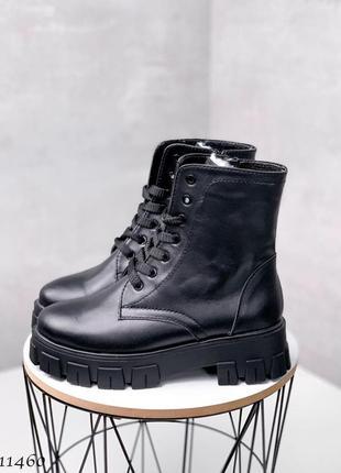 Зимние ботиночки черные кожаные