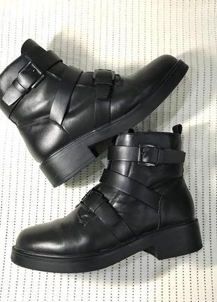 Кожаные тёплые зимние ботинки кожа сапоги