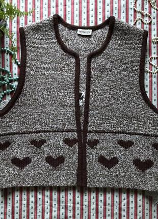 Шикарная жилетка 100% шерсть в стиле ретро винтаж landhaus размер м