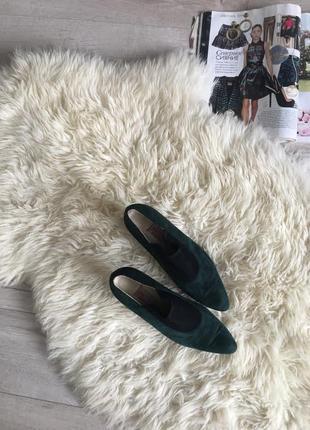 Туфли замшевые темно зелёные 💚