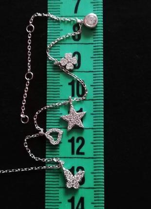 Браслет серебряный 18,8-17,5-15,5см  покрыт родием лот 329
