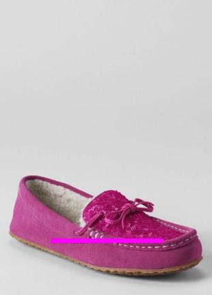 Women's sequin suede moccasins , land's end, р.6, стелька 23-23,2