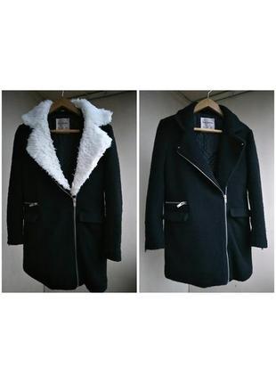 Теплое шерстяное пальто косуха длинная с мехом