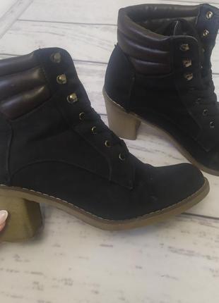 Ботинки ботфорты казаки челси нубук чёрные, 38 размер
