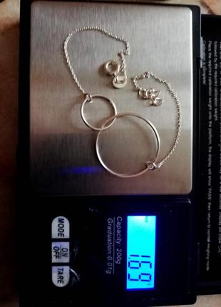 Браслет серебряный 19,5 - 21,5см  лот 330