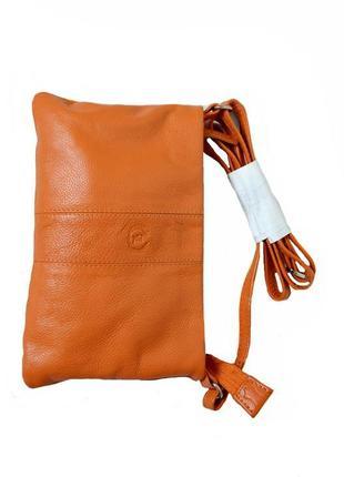 Кожаная маленькая оранжевая сумочка. ledy код п38968