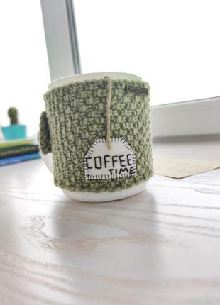 Грелка для чашки. вязаная одежда для чашки. декор для чашки. вязаный декор