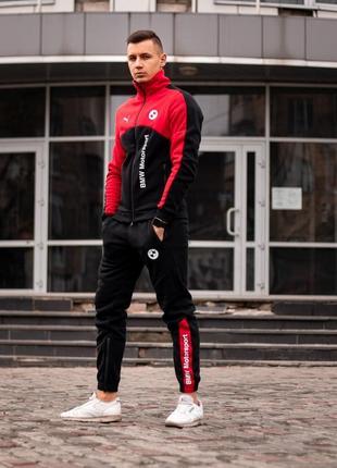 Утеплённый спортивный костюм bmw motorsport красный с чёрным