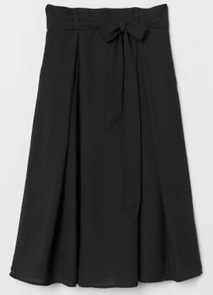 Новая стильная черная шифоновая миди юбка h&m