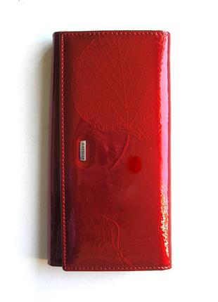 Большой кожаный лаковый кошелек листья, 100% натуральная кожа, есть доставка бесплатн