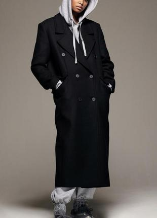 Zara длинное пальто двубортное шерстяное