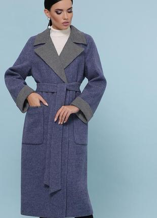 Шерстяное синее пальто