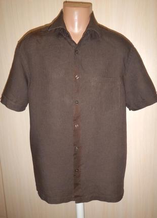 Льняная рубашка тенниска marks & spencer p.l лён