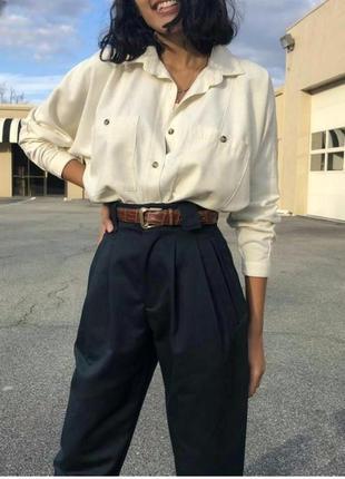 John lewis брюки чёрные в мужском стиле высокая талия