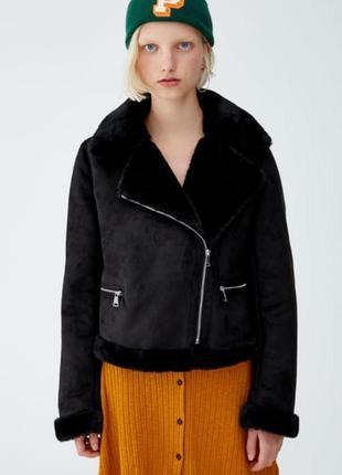 Черная короткая дубленка косуха куртка с мехом pull&bear