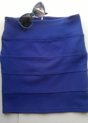 Ярко-синяя бандажная юбка amisu