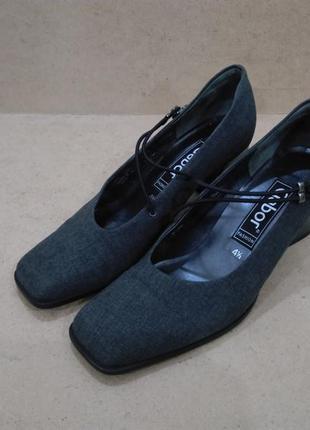 Туфли gabor текстиль серые внутри кожа на каблуке