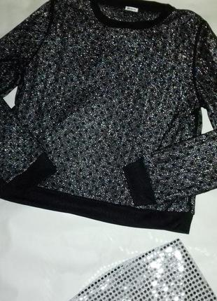 Шикарная кофта свитшот сеточка блестящая люрекс + фатин шифон в горох🔥💞
