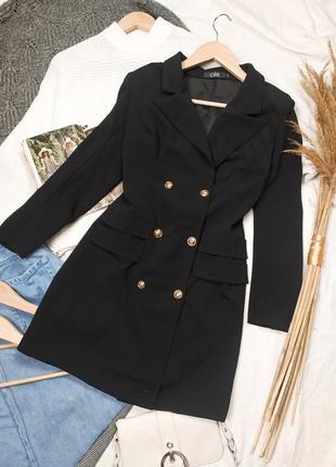 Чёрное двубортное   платье пиджак  с длинным рукавом