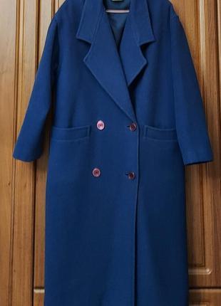 Крутое винтажное двубортное пальто актуального кроя  100% шерсть