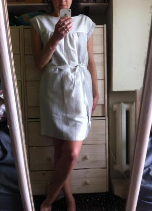 Стильное прямое серое  белое льняное платье миди 10-12 на подкладке от gap