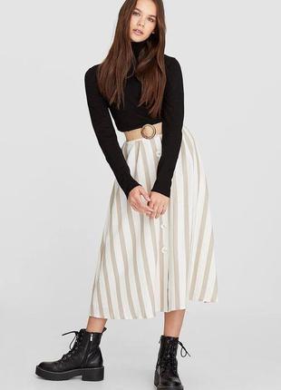 Льняная юбка миди с поясом