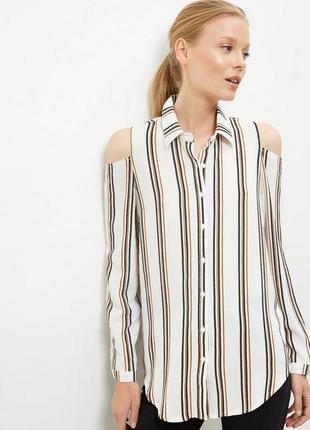 Белая рубашка с длинным рукавом и открытыми плечами в полоску new look