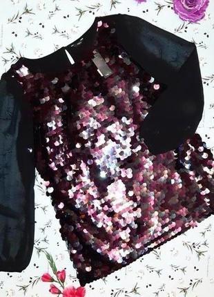 🌿1+1=3 стильная нарядная блуза блузка с длинным рукавом в пайетках m&co, размер 50 -