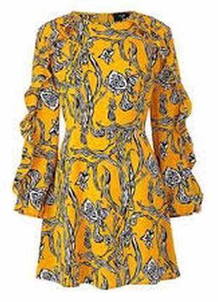 Платье стильное легкое в цветочный принт с рюшами большого размера uk 28