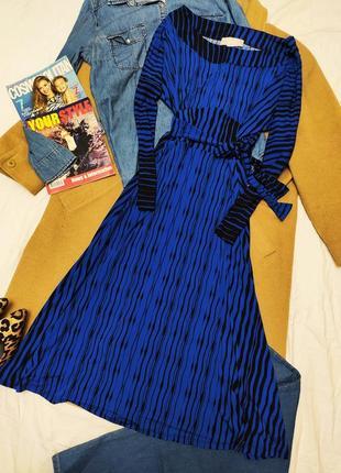 Havren платье синее электрик в чёрный принт с поясом полосатое миди классическое