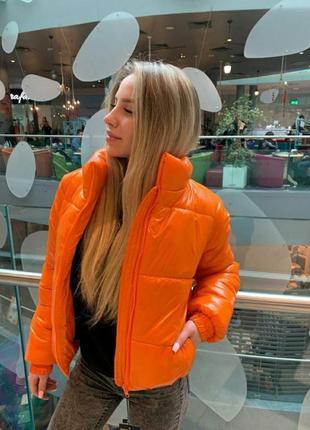 Куртка пуховик укороченная яркая оранжевая