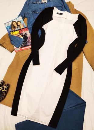 Amika платье чёрное белое миди с длинным рукавом карандаш футляр по фигуре