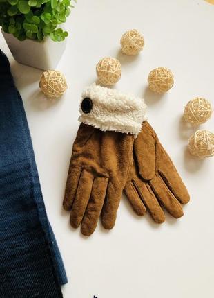 Замшеві утеплені рукавиці