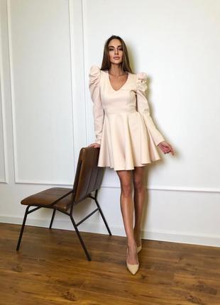 Платье мини с рукавами-фонариками