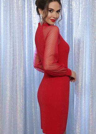 Нарядное новогоднее вечернее красное платье на корпоратив праздник