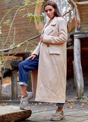 Удлинённое пальто гусиная лапка