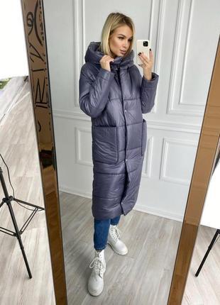 Пальто с карманами силикон + флисовая подкладка