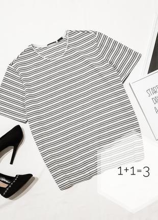 Базовая футболка m-l  в полоску стильная полосатая блуза блузка прямая тренд