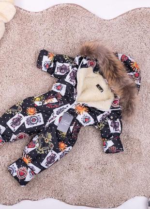 Зимний комбинезон человечек с натуральным мехом