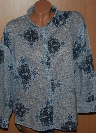 Блуза принтованая бренда h&m / 100%cotton/ приспущены плечи /