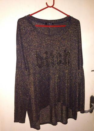 """""""чёрное золото"""",трикотаж-стрейч,блузка-туника с удлинён.спинкой,стразами,большого размера"""