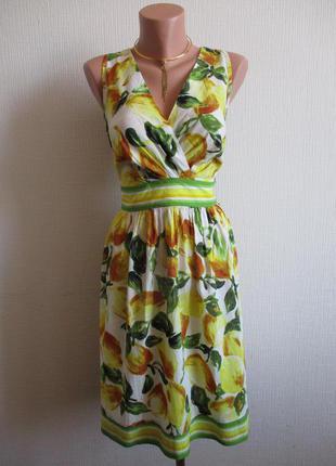 Натуральное платье из хлопка принт лимоны dorothy perkins