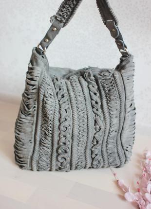 Замшевая вместительная сумка, бренд zara