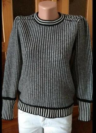Модный джемпер с пышными рукавами/чёрно-белый рисунок размер s-m/8-10