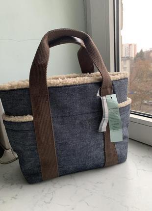 Стильная джинсовая меховая сумка bossini