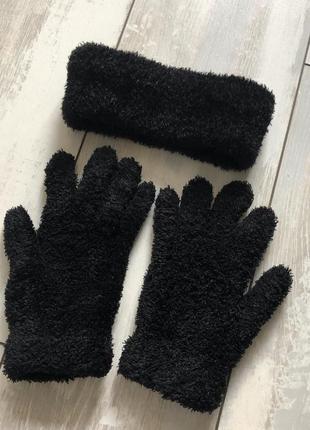 Набір пов'язка + рукавиці травка